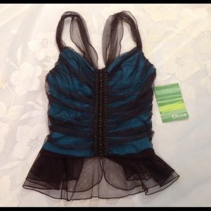 🎉2XHP🎉Citrine Brown And Turquoise Corset Top